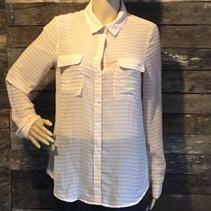 Old Navy Sheer Striped Button Down Top Shirt